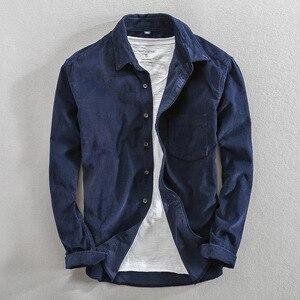 Image 3 - Primavera e outono marca de moda estilo japão vintage cor sólida veludo camisa masculina casual fino algodão manga comprida camisas