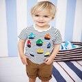 Mi barcos de colores embroma la camiseta suave algodón de los muchachos de la camiseta pequeña Maven