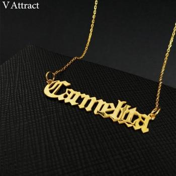 c270c31516bf Cadena de oro personalizada placa de identificación joyería personalizada  nombre inglés antiguo collar de acero inoxidable colgante gargantilla para  mujer ...