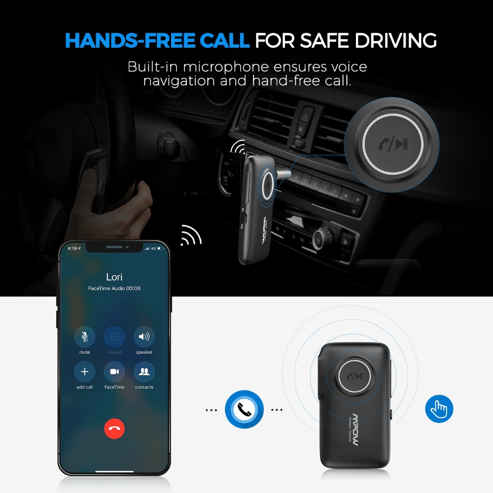 VicTsing Bluetooth Receiver 5.0 Car Adapter Kit CSR Bluetooth Receiver Transmitter 16 Hours Aux Adapter Audio Hands-Free Calls   (7)
