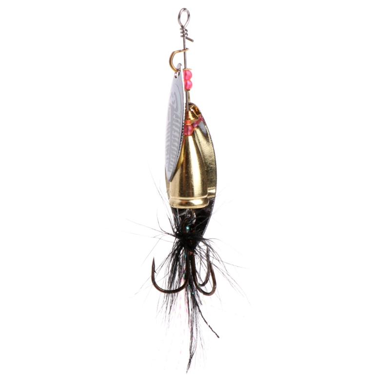 1PC Metal Fishing Lure Sequins Spinner Spoon Baits Feather Fishhook Tackle 7.8cm 11g