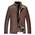 Men PU Leather Jacket Suitable For Russian Minus 40 degree 2016 Winter Imitation Lambs Wool Collar Casual Leather Coat