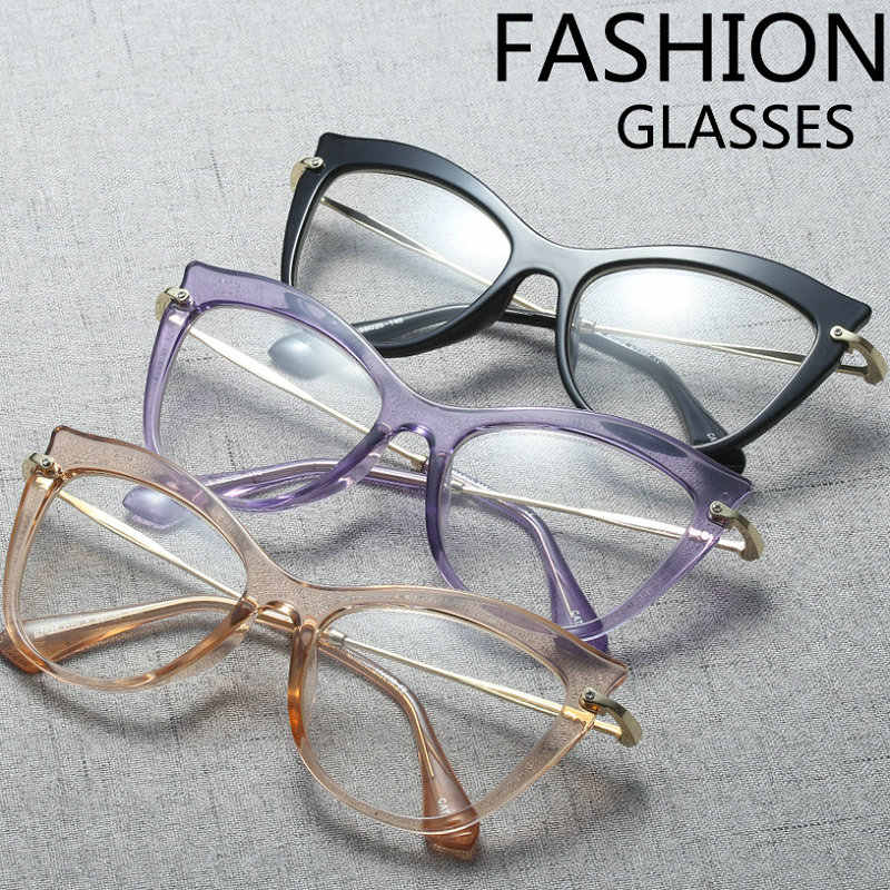 6102a5a30380 mincl  New 2018 Fashion Cat Glasses Frames Brand Design Vintage Cat sunglasses  Frame Women Clear