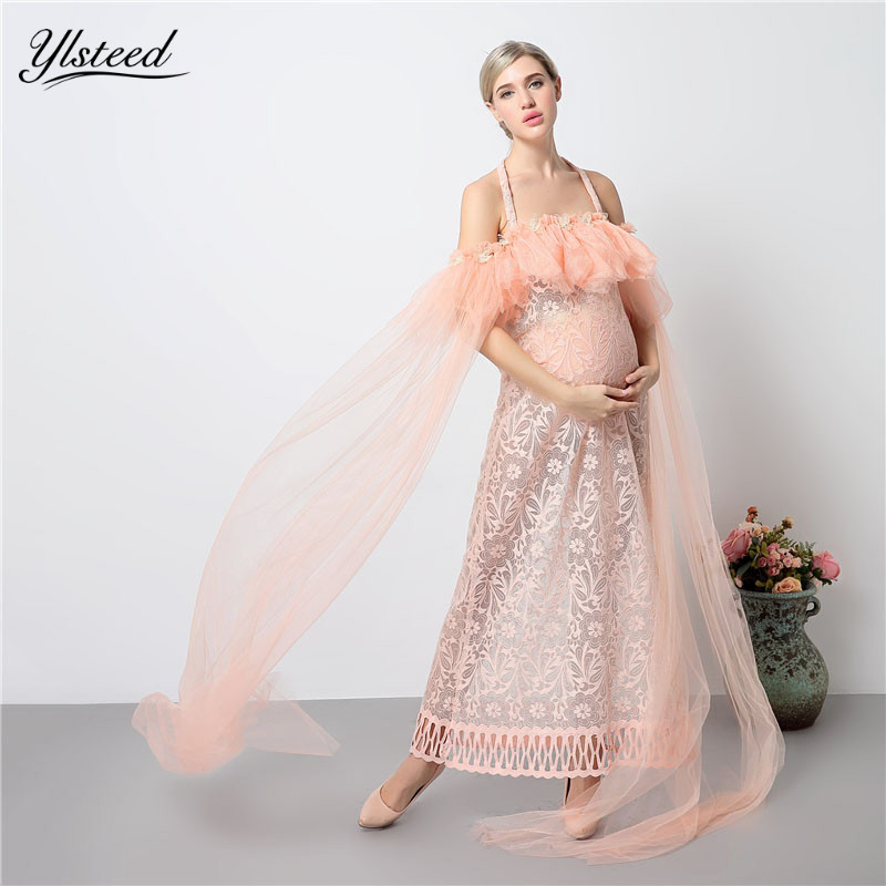 2018 Sexy Mesh Sheer Maternity Photography Dress Pink Strapless Pregnancy Dress Sexy Hollow Lace Maternity Dress Photo Props