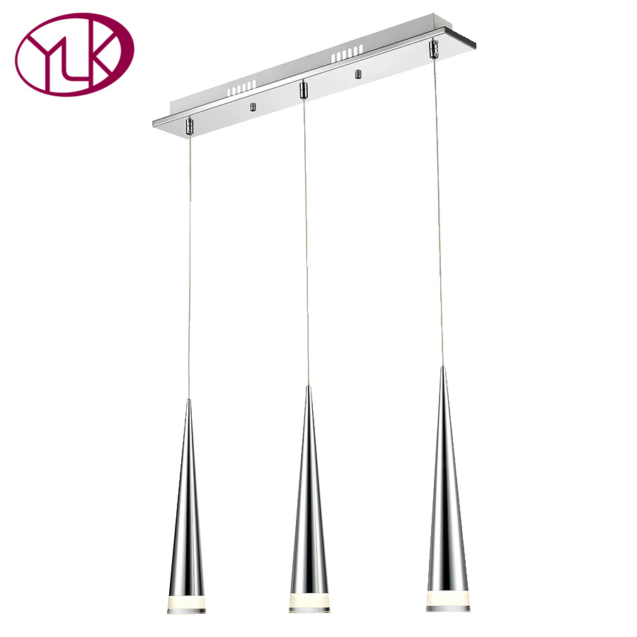 Youlaike Modern LED Pendant Light For Dining Room Rectangle 3 Lights Hang Lighting Fixtures Silver Kitchen Island Bar Home Lamps mamei free shipping 3 lights crystal led pendant light fixtures for dinner room kitchen island led included