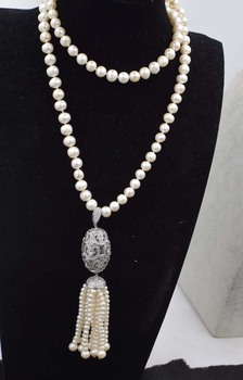 freshwater pearl white near round and hook pendant necklace 30inch FPPJ wholesale beads nature