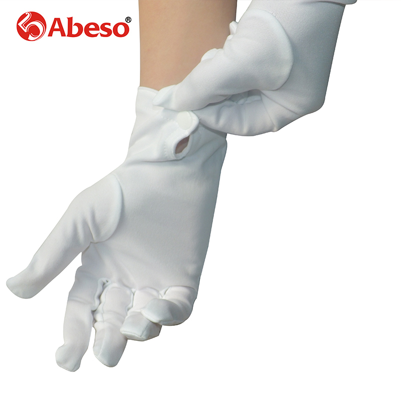 ABESO 20 Pairs lot individually pack Dacron White Etiquette Gloves Snap Button working Gloves A1002