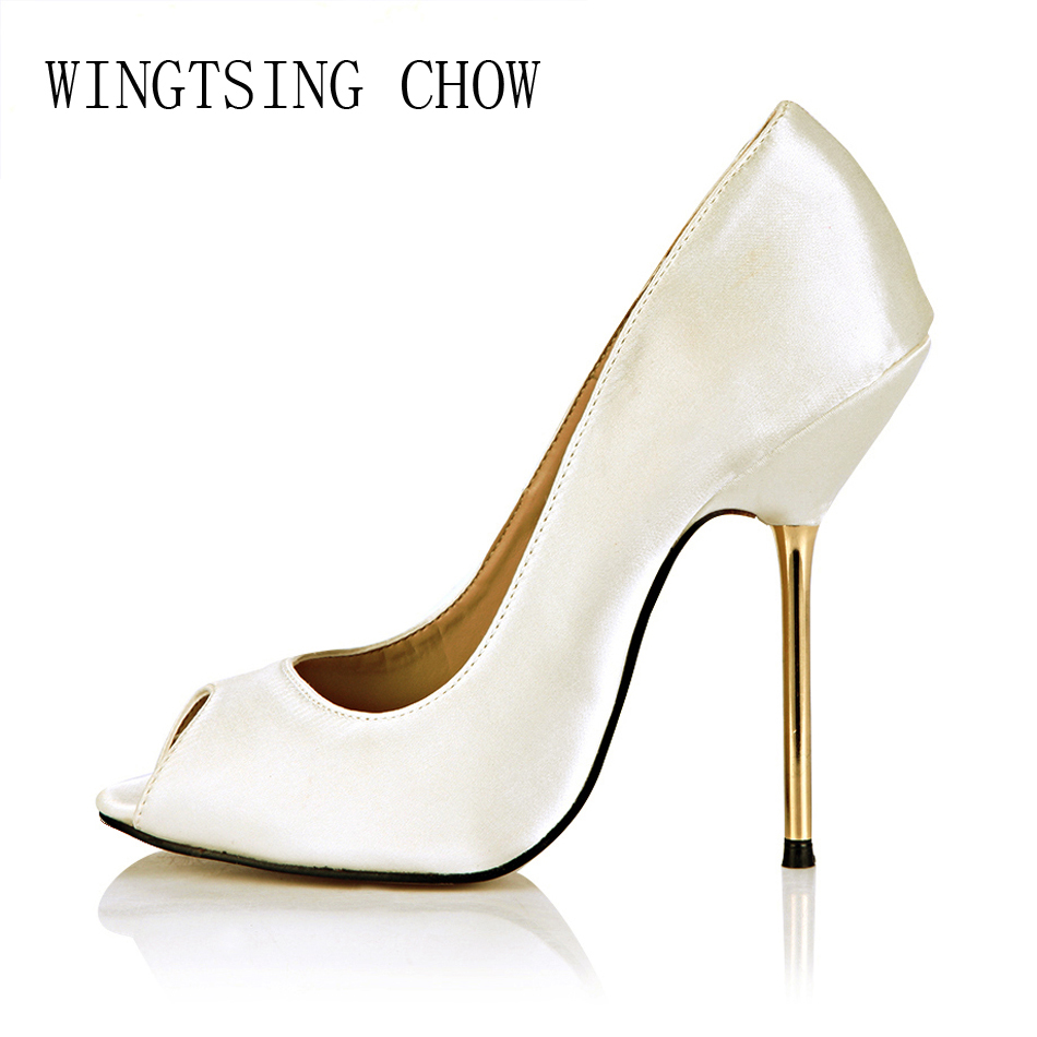 2016 New Ivory Satin Sexy Party Shoes Women Peep Toe Stiletto Iron High Heels Ladies Pumps Plus Sizes 9.5 Zapatos Mujer 3845-a5 2017 new ivory sexy wedding bridal shoes women pointed toe stiletto super high heels chain lace lady pumps zapatos mujer 0640 f5