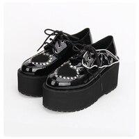 2018 толстой подошве Заклепки черная обувь на платформе кожаные ботинки martin женские на шнуровке в британском стиле Harajuku обувь панк крылья обу