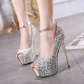 New 2016 High Heels Party Girl Glitter Platform Open Toe Women Shoes Pumps  Wedding Shoes Plus Size 34-40