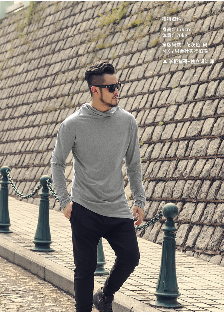 HTB1Mpn6XzDuK1Rjy1zjq6zraFXaP - Men Autumn New European Style High Collar Long Sleeve Hooded T-shirt with Cap Men Slim Casual Cotton Irregular T-shirt T908