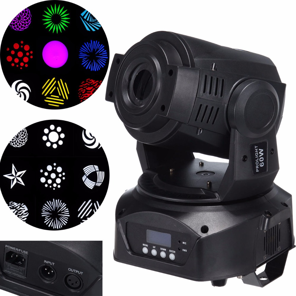 (Ship from Germany ) 60W LED Moving Head DJ Stage Spot Light DMX Disco Club Party Lighting Show 7 Colors DMX 2pcs lot 10w spot moving head light dmx effect stage light disco dj lighting 10w led patterns light for ktv bar club design lamp