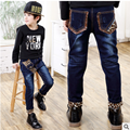 Children Jeans Boys Leopard Jeans Pants 2017 Spring Light Wash Boys Jeans for Boy Regular Elastic Waist Children's Jeans P252