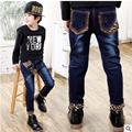 Crianças de Jeans Meninos Calça jeans Leopardo 2017 Primavera Lavagem Luz Jeans Meninos para Boy Regular Cintura Elástica calças de Brim das Crianças P252