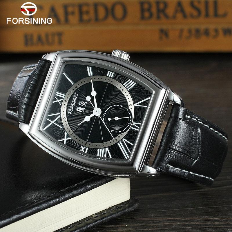 FORSINING Classic Men Watch Luxury Top Brand Leather Auto Mechanical Watch Complete Calendar Relogio Masculino
