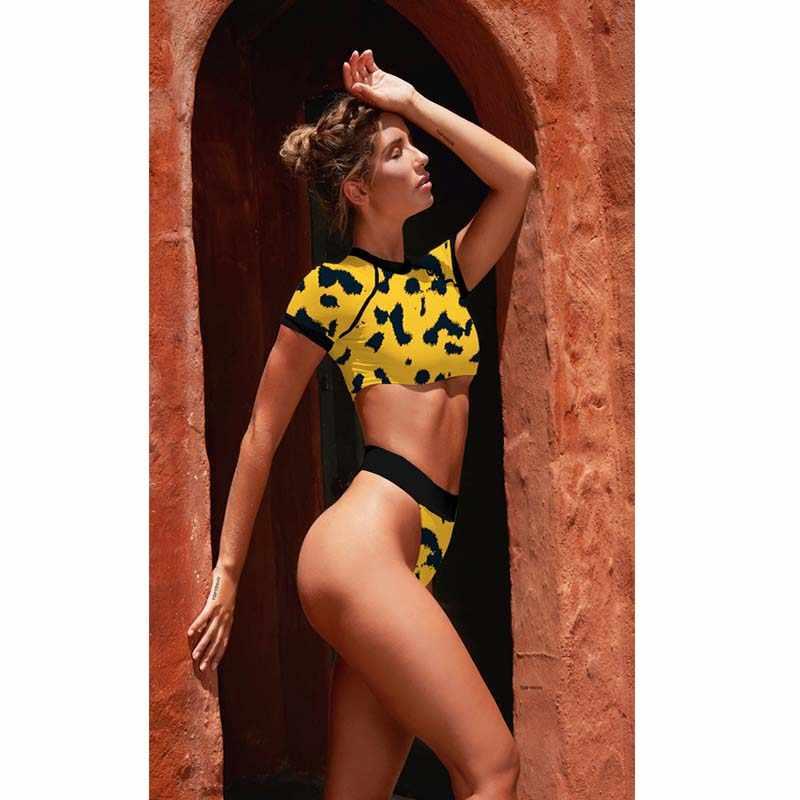 ceb0569fe5 ... High Waist Bikini 2019 Leopard Print Swimsuit Female Sexy Swimwear Women  Short-sleeved Bathing Push ...