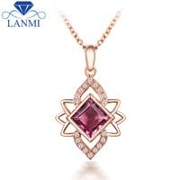 Design di lusso Naturale Tormalina Rosa Ciondolo di Diamanti Collana Reale 14 K Oro Rosa Per La Fidanzata Gioielli Regalo WP066D