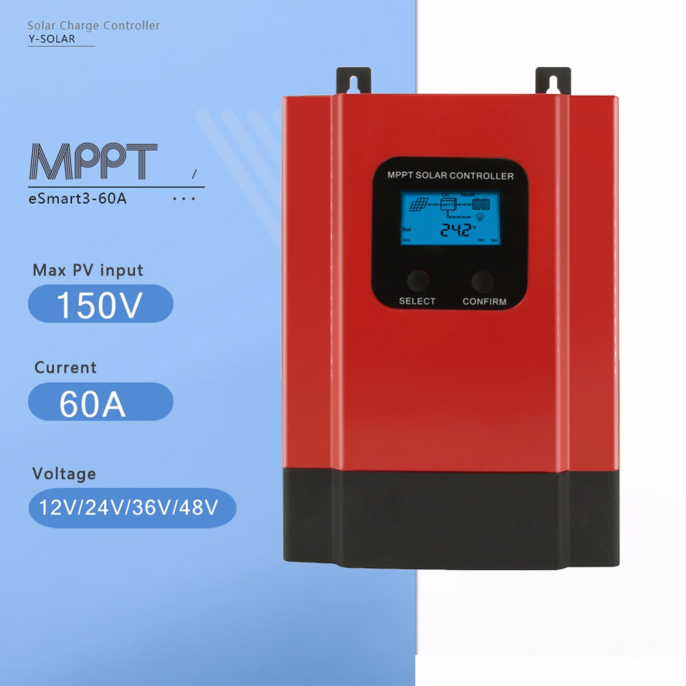 MPPT 60A Solar Charge Controller 12V 24V 36V 48V eSmart3-60A Solar Panel Battery Charge Regulator with Back-light Display RS485 60a 12v 24v 48v solar charge controller engineering premium quality com rs232 with pc