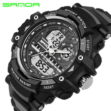 SANDA Brand Waterproof Shockproof Men Multi-function Digital Analog Sports Watches Dual Time Zone Alarm Wristwatches 740 OP001
