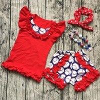Summer Design Kids Baseball Season Clothes Girls BALLGAME Clothing Ruffles Cotton Shorts Girls Boutique Outfits With