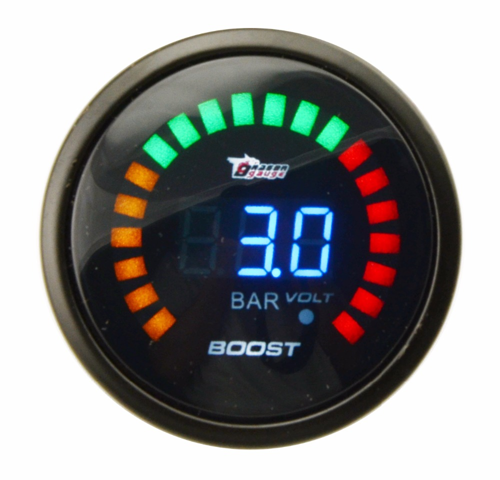 DRAGON GAUGE 3.0 BAR 52MM Boost Turbo Gauge Black Color Analog Digital Blue Led