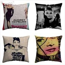 Audrey Hepburn Movie Portrait Decorative Linen Cushion Covers For Sofa 45x45cm Throw Pillow Case Home Decor Pillowcase Almofada