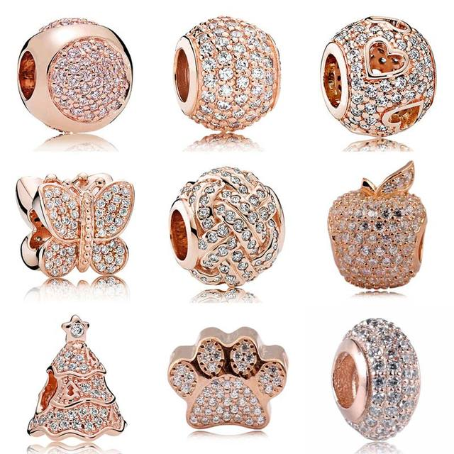 9a2bca247 Rose Gold Pave Butterfly Dazzling Droplet Twinkling Christmas Tree Beads  Fit Pandora Bracelet 925 Sterling Silver
