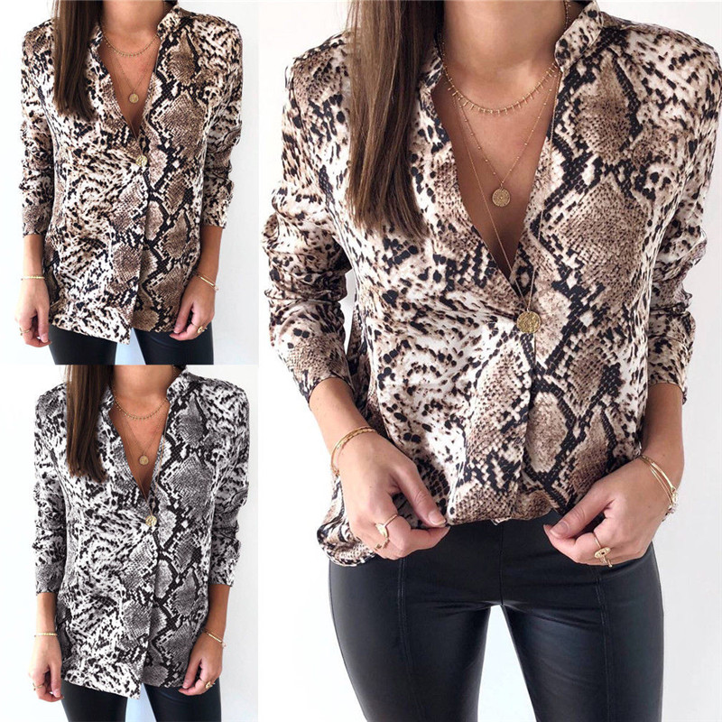 Forefair Snake Animal Print Blouse And Shirt Long Sleeve Casual Plus Size V Neck Serpentine Fashion Women Blouses Autumn 2018