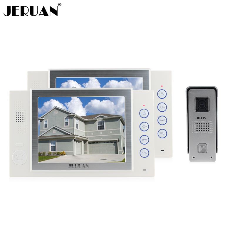JERUAN 8 inch LCD screen video door phone doorbell monitor intercom system recording photo taking video doorphone IR COMS Camera jeruan 8 inch video door phone high definition mini camera metal panel with video recording and photo storage function