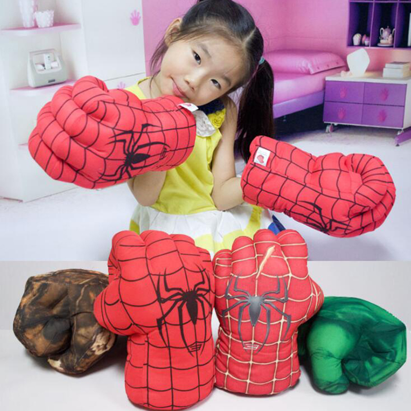 Children The Incredible Hulk Spider-man Cosplay Glove Plush Superhero Hulk Spider man Gloves Party Kids Costume Props Toys