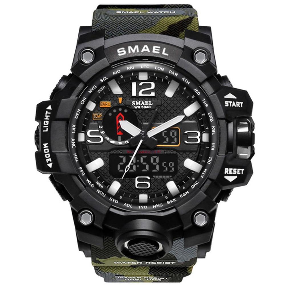 SMAEL Top Brand Luxury Dual Display Watches Mens Military Fashion Quartz Watch Men Resistant Sports Style Digital Watch Relogio top display women100