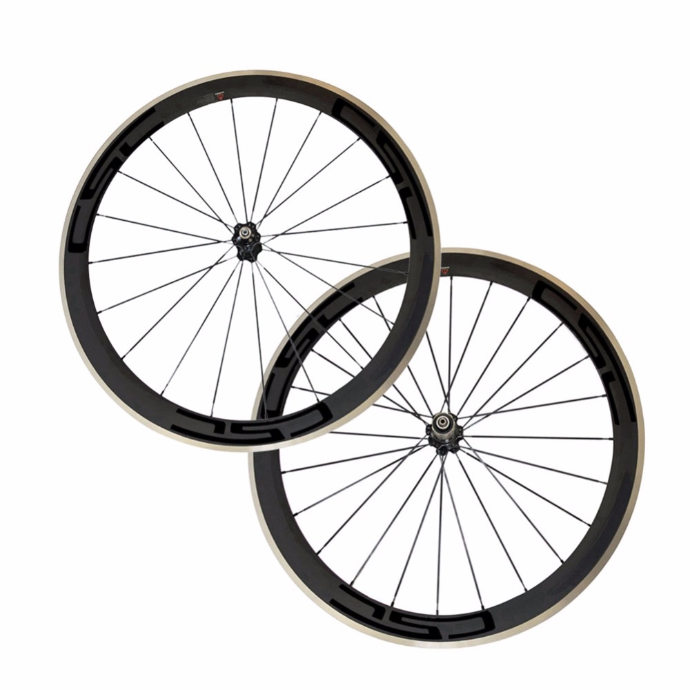 CSC 700C 25mm width 50mm depth clincher carbon bike wheels with Alloy brake track road bicycle aluminum wheelset R36 HUB 700c front 38mm rear 50mm depth road carbon wheels 25mm width bike clincher tubular carbon fiber wheelset with powerway r36 hub