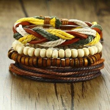 1Set Multilayer Leather Bracelet Men Jewelry Wood Bead Bracelets For Men Boho Vintage Adjustable Bangles Mens Accessories