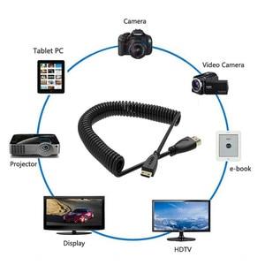 Image 5 - Altın Kaplama Streç Bahar Mini HDMI HDMI Erkek Kablo Elastik HDMI Cabo Video Kamera Için HDTV Projektör Desteği 4 K 3D