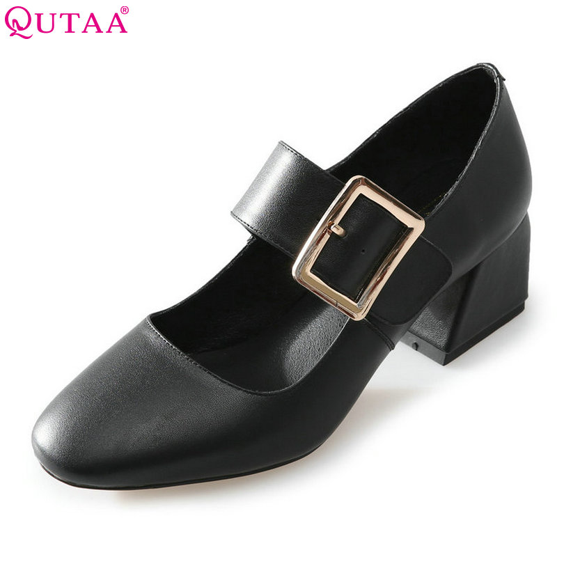 QUTAA 2018 Women Pumps Fashion Woman Shoes PU Leather Mary Janes Square Med Heel Buckle Ladies Casual Pumps Size 34-39 xiaying smile summer woman sandals fashion women pumps square cover heel buckle strap fashion casual concise student women shoes