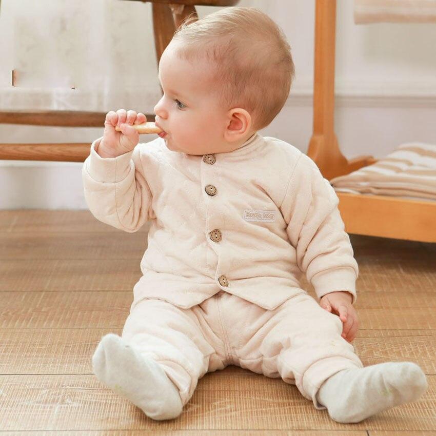 2 Pcs Winter Baby Kids Pajamas Set High Waist Warm Pants Baby Girls Boys Cotton Single Breasted Clothing Sets Free Shipping
