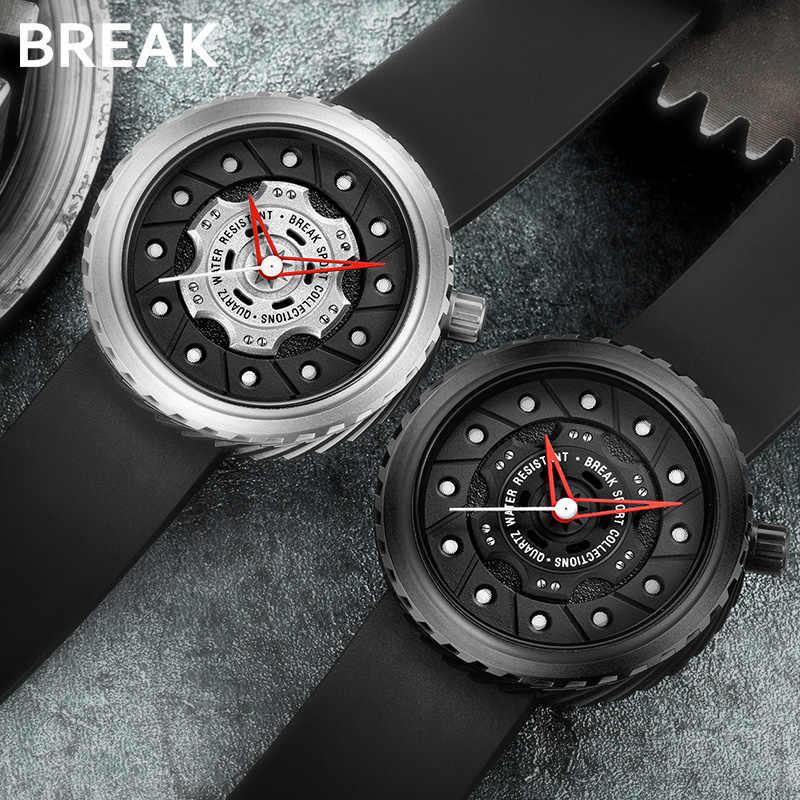 BREAK Geek креативные модные повседневные Кварцевые спортивные часы для мужчин резиновый кожаный ремешок Топ люксовый бренд водонепроницаемые Подарочные наручные часы