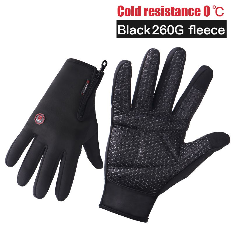 Outdoor Sports Black Cycling Thick Touch Screen Motorcycle Gloves Windproof Full Finger Ski Warm Riding Gloves