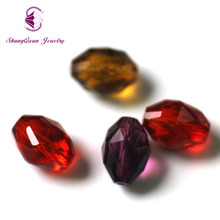 Shangquan wholesale 100pcs Faceted Glass Crystal Finding Loose Spacer Oval Beads AAA 11x8mm