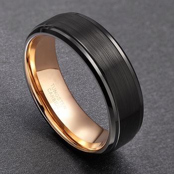 8mm Black Tungsten Ring Brushed with polished edges Gold lining mens wedding engagement promise ring  1