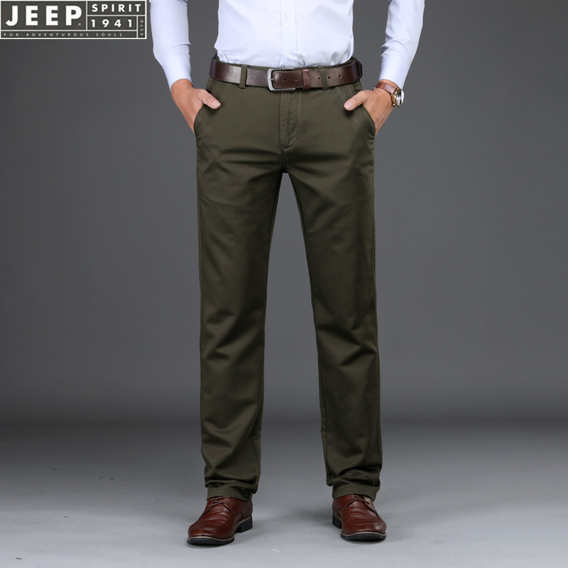 JEEP SPIRIT Autumn Brand Business Casual Pants Men Tencel Fabric Mid-waist Straight Trousers Men Plus Size 29-42 Cargo Pants Men