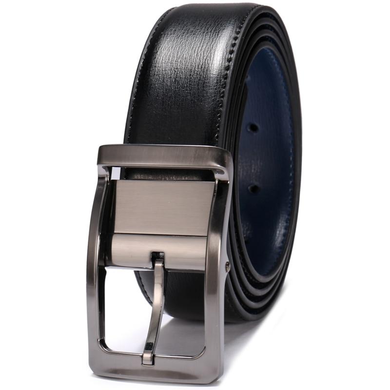 Image 2 - Men Genuine Leather Belt Reversible Waist Strap Pin Buckle Casual Belts For Men Male High end Cowskin Leather Girdle Belt BoyMens Belts   -