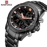 NAVIFORCE Mens Quartz Analog Watch Luxury Fashion Sport Wristwatch Waterproof Stainless Male Watches LED Clock Relogio Masculino