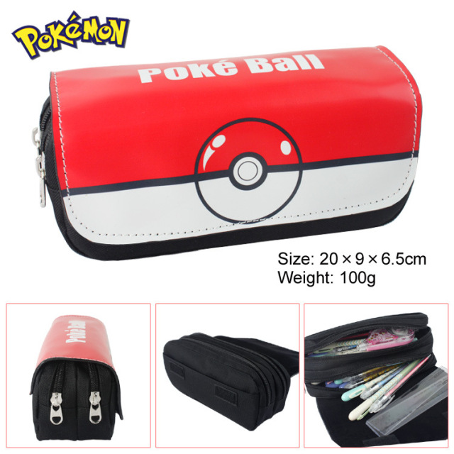 Pocket Monster wallet bag multifunction double large capacity PU double zipper Poke Ball Bag Wallet