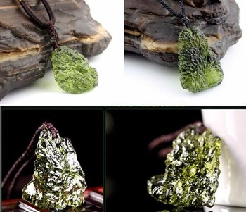 Hot Sale A++ Natural Moldavite green aerolites crystal stone pendant energy apotropaic4g-6g/ lot+ free rope Unique Necklace 1