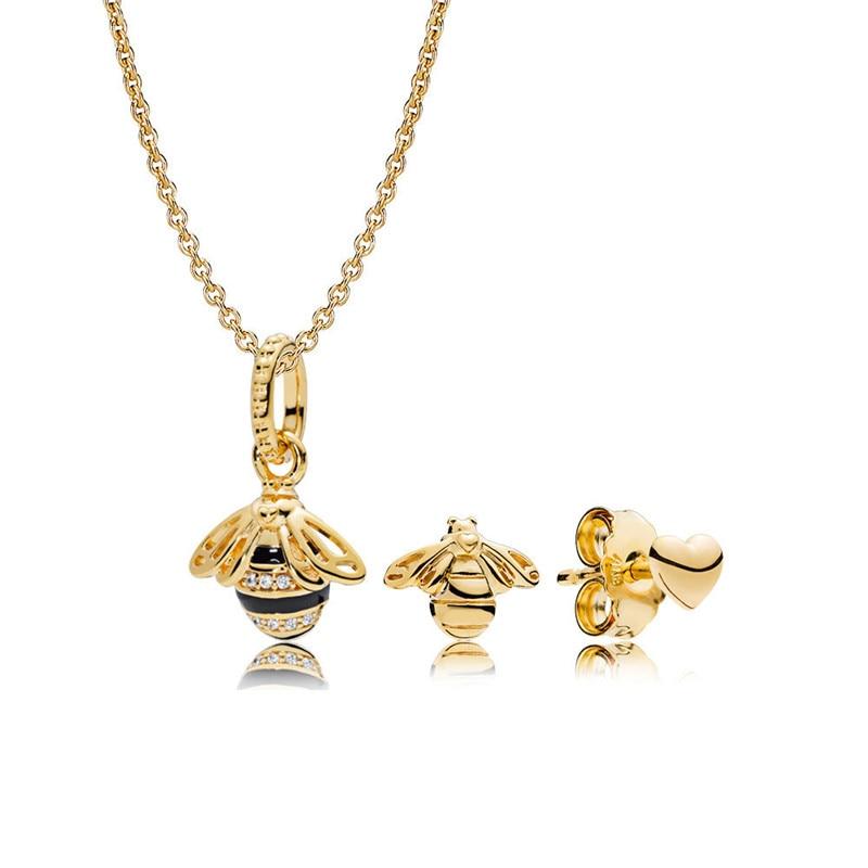 Fashion Women Golden Shine Jewelry Sets Queen Bee Pendant Chain Necklace & Heart Honeybee Stud Earrings Charm Silver 925 JewelryFashion Women Golden Shine Jewelry Sets Queen Bee Pendant Chain Necklace & Heart Honeybee Stud Earrings Charm Silver 925 Jewelry