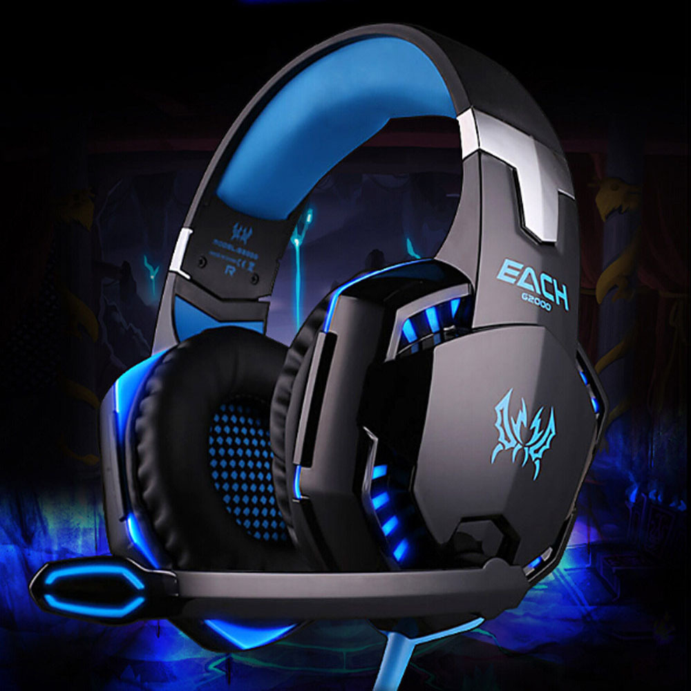 EACH G2000 Deep Bass Game Headphone Stereo Surrounded Over-Ear Gaming Headset Headband Earphone with Light for Computer PC Gamer 2pcs each g1000 over ear game gaming headset earphone headband headphone with mic stereo bass led light for pc gamer