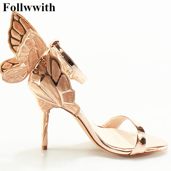 все цены на 2017 Sophia Webster Butterfly Wings Women High Heels Bowtie Summer Shoes Sandals Woman Open Toe Ankle Strap Party Shoes Pumps онлайн