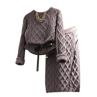Winter Casual Knitted Set Women Twist Sweater + Midi Knitted Skirt Two Piece Set Skirt Winter Clothes For Women Suit