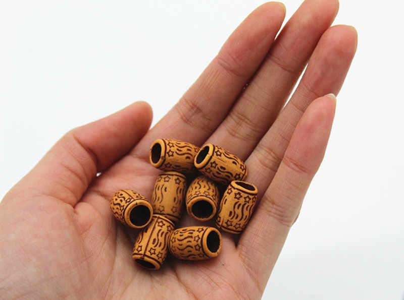 10 stücke Harz Haar Braid Furcht Dreadlock Perlen Nationalen stil Manschetten Clips Holz Farbe ca. 5mm innen loch Haar zubehör